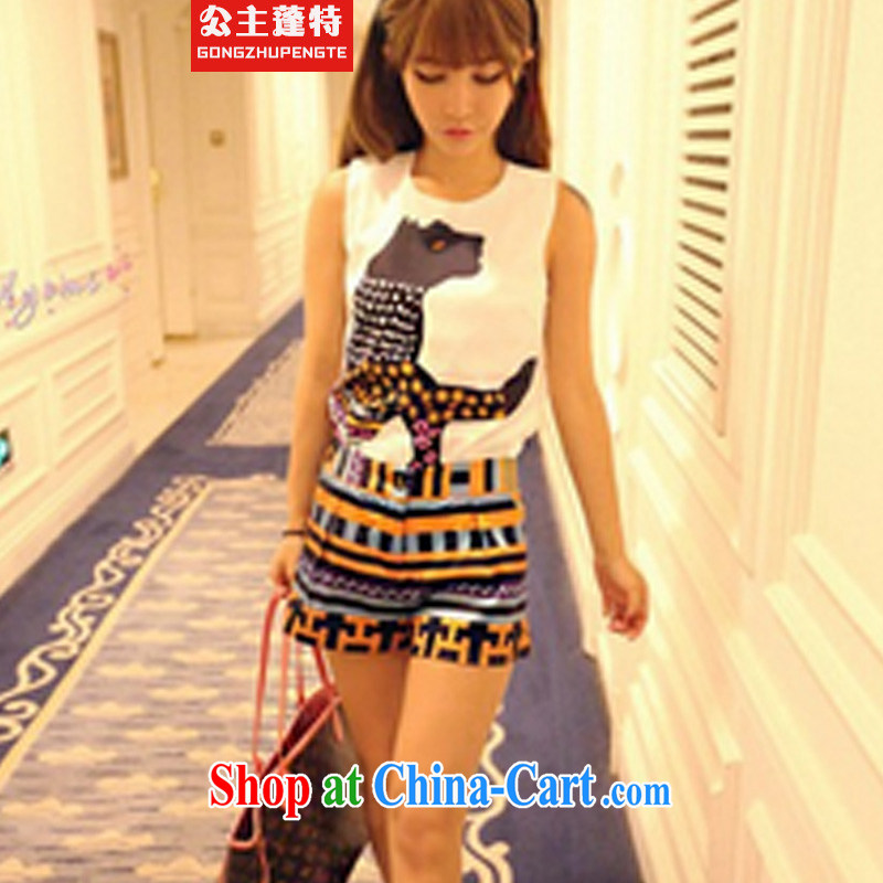 Princess Puntland. Summer in Europe and female short-sleeved shorts stylish lounge suite female summer girl set picture color M