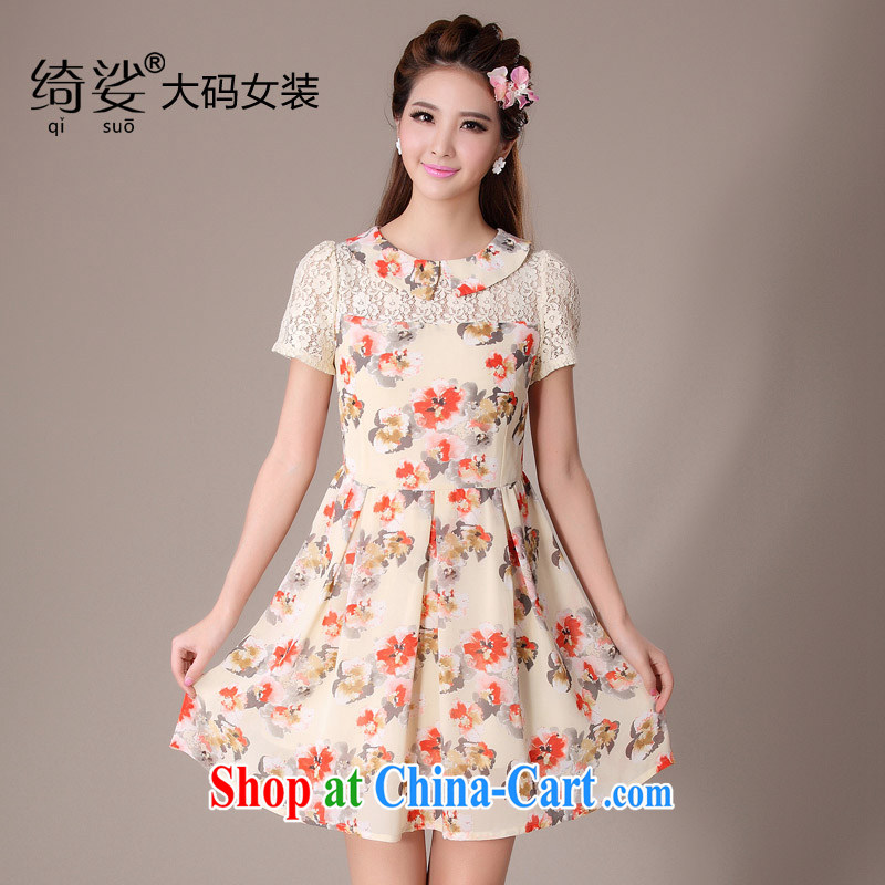 cheer for 2014 XL girls with thick MM summer new flowers floral thick sister-in-law Video thin large short-sleeved dresses item no. 2053 apricot 3XL