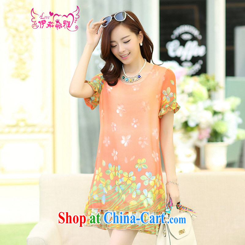 The Ju-Yee Nga summer the Code women's clothing thick sister graphics thin floral floral short-sleeved snow woven dresses YJ 183 commercial toner XXXXL