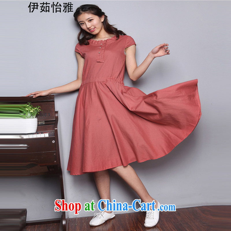 The Ju-Yee Nga summer wear large, female video thin skirt, short-sleeve cotton Ma dresses YQ 9583 rusty red XXL