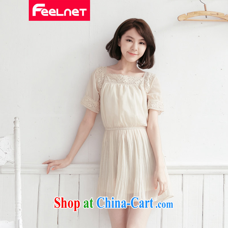 The feelnet Code women 2015 the code summer new short-sleeved lace XL snow woven dresses 2102 apricot large code 6 XL