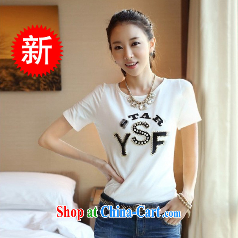 Electoral support the health beauty nickname, 2014 spring and summer new female Korean Beauty round-collar short-sleeve, T-shirt white half sleeve t ? girls cotton Y 562 white XXL