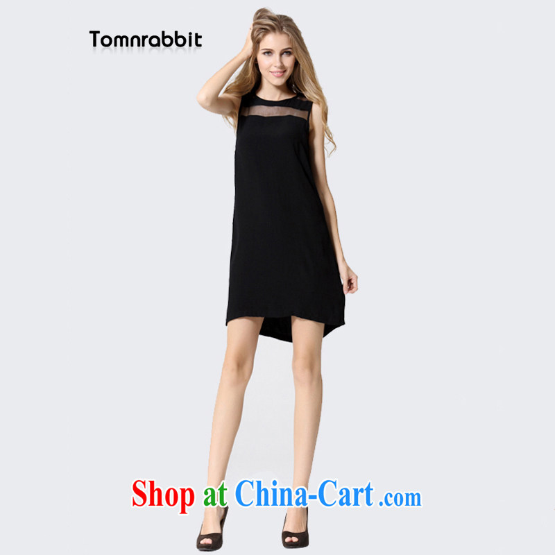 Tomnrabbit 2014 summer new, larger ladies dress with black beauty video thin A field skirt XXXL