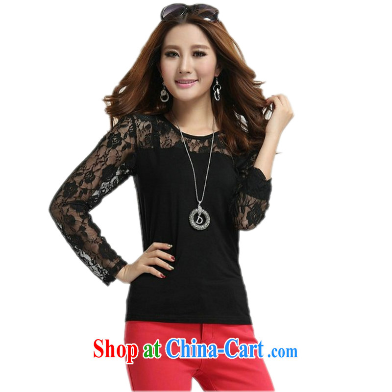 The delivery package as soon as possible by the fat girl with the code T pension 2014 spring new high stretch video thin solid shirt 100 ground lace stitching T shirts thick M T-shirt black 3 XL 170 - 195 jack