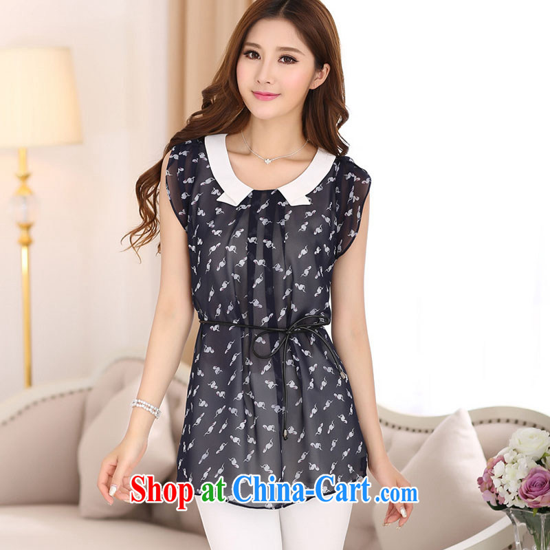 According to soon Julia summer 2015 new t-shirt larger female Korean loose sleeveless ice woven shirts with waist brought SY 7022 black XXXXL