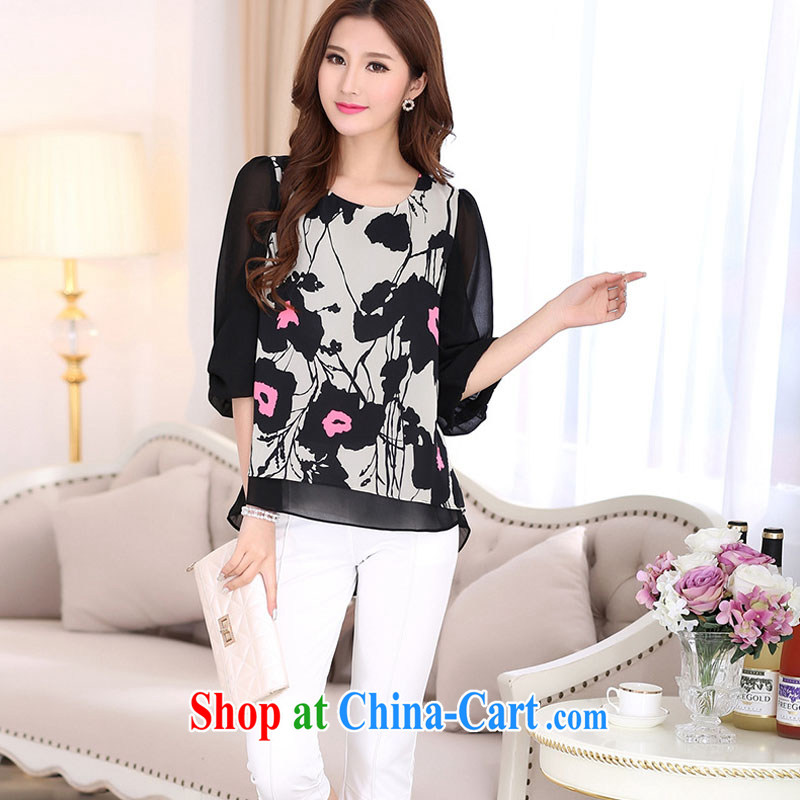 According to soon Julia summer 2015 new t-shirt Han version the code female stamp snow woven shirts SY 7016 black XXXXL