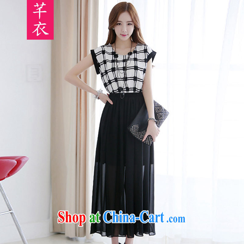 Constitution and clothing increased, indeed, female fat sister 2015 new summer Korean bat sleeves grid stitching cultivating urban lady snow woven skirts dresses black 3 XL 160 - 175 jack