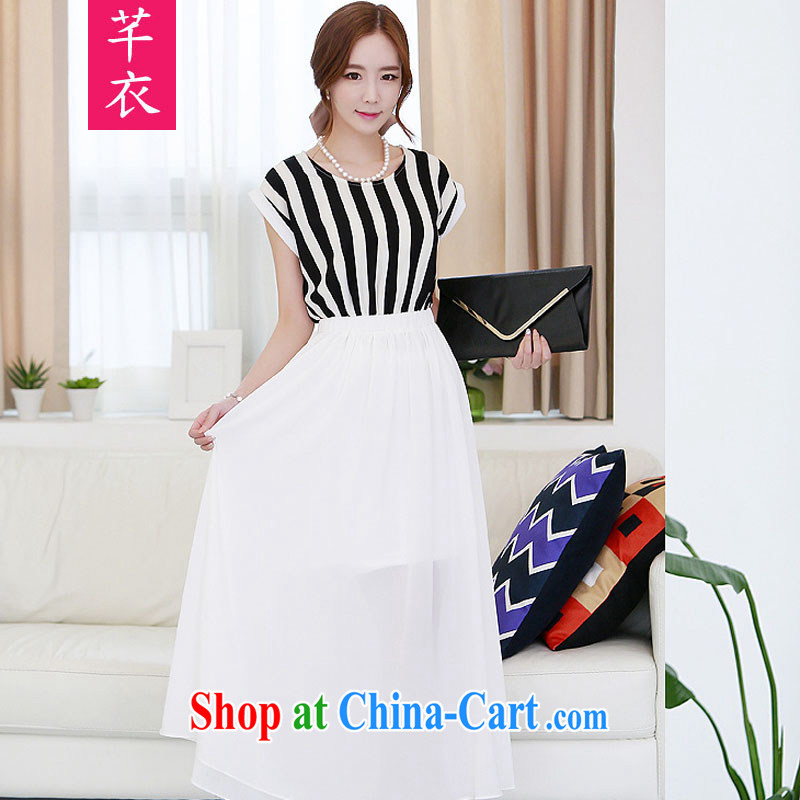 Constitution, 2015 New, and indeed increase, female summer bat sleeves stripes stitching snow woven skirts thick MM-waist relaxed casual dress style skirts white 3XL 160 - 175 jack