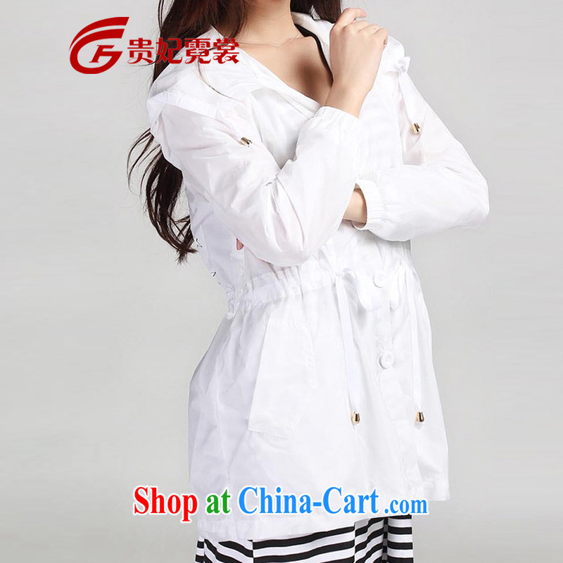 queen sleeper sofa Ngai advisory committee 2014 summer new mm thick and fat XL women's clothing sunscreen clothing beach clothing and thick MM UV cardigan jacket 2445 white 2XL