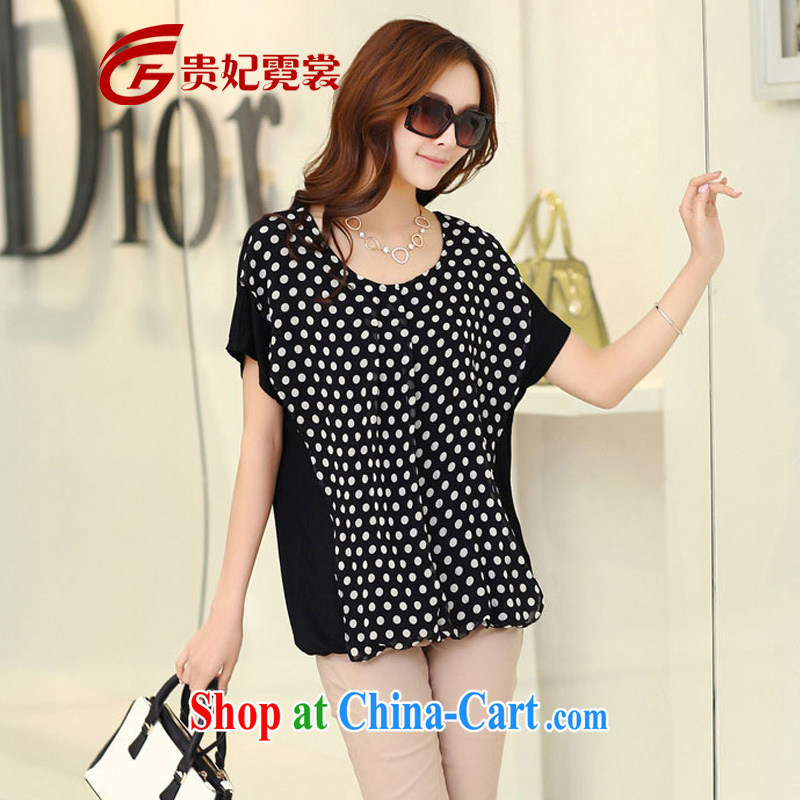 2015 mm thick summer new XL female dot leave of two part snow woven shirts King, short-sleeved shirt T thick sister relaxed T-shirt 745 black 3 XL
