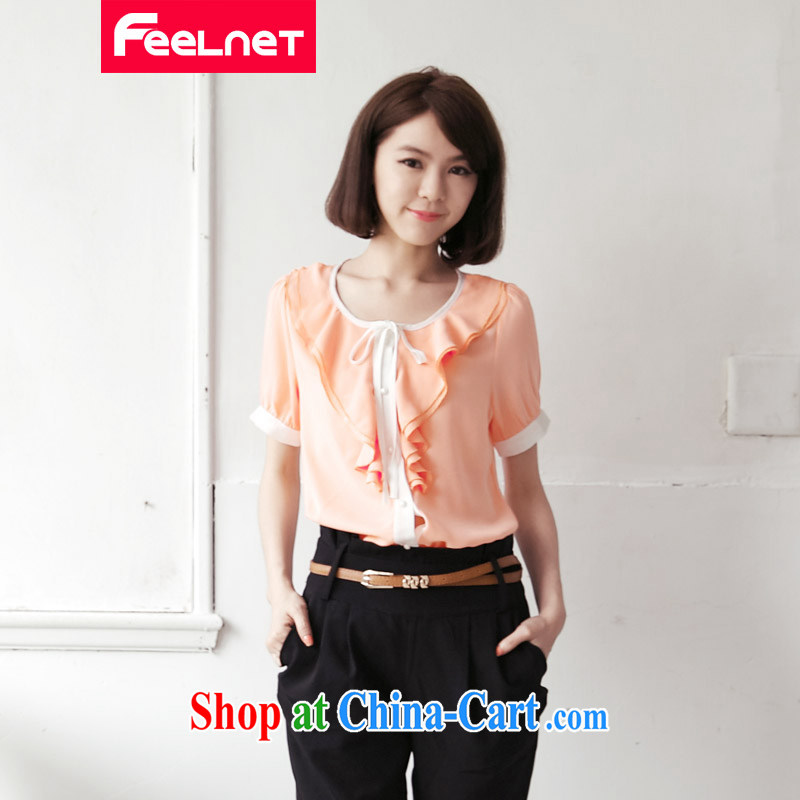The feelnet code female summer new 2015 Korean version graphics thin short-sleeved loose XL snow woven shirts 2147 pink large code 6 XL