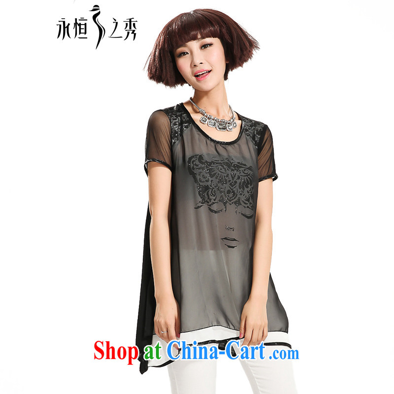 Eternal-soo and indeed increase, female snow woven shirts fat people graphics thin, 2015 mm thick summer new Web yarn stitching leave of two parts, long T shirts black XL