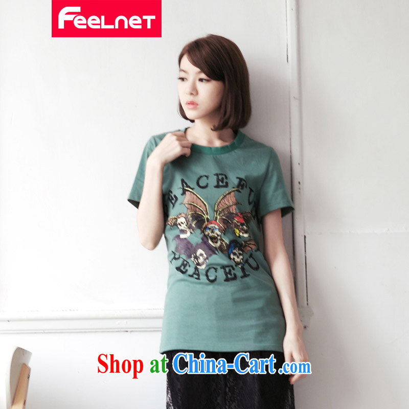 feelnet XL female Korean video thin 2015 summer new thick mm short-sleeve loose the code T pension 2125 green code 6 XL