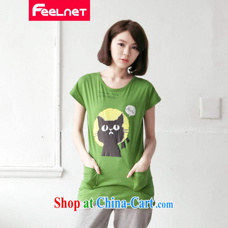 feelnet XL female Korean video thin 2015 summer new thick mm short-sleeve loose the code T pension 2134 green code 5 XL