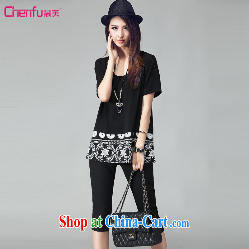 Morning would be 2015 summer new Korean version is indeed the XL female fat sister loose video thin short-sleeve ethnic wind knocked color stamp stitching Leisure package black 4XL
