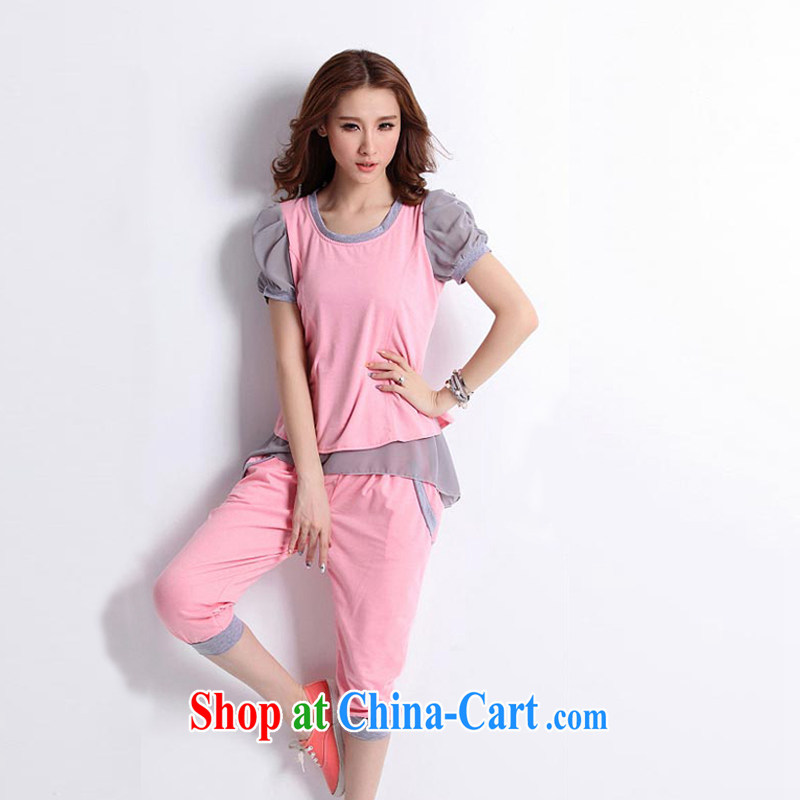 The Chinese clothing and building 2014 new Korean short-sleeved 7 pants and Stylish large code female Leisure package girls summer pink XXL