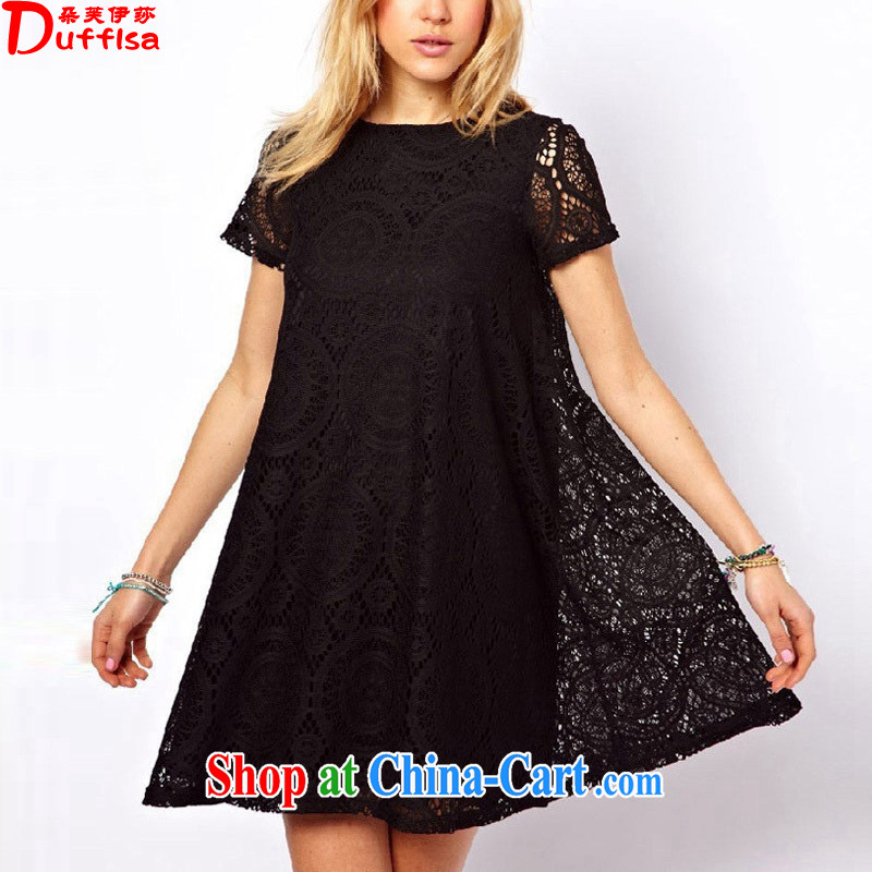 flower girl Isabelle 2014 summer new thick MM temperament female XL lace Openwork hook flower graphics thin dresses female black XXXXL