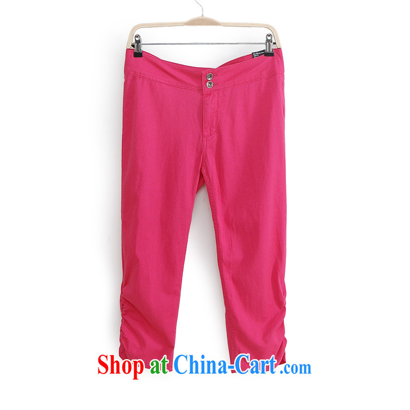 New 2014 mm thick summer large foreign trade, women in Europe and the original single pants castor pants larger female trousers K 2 red L _tile measuring clothes against_