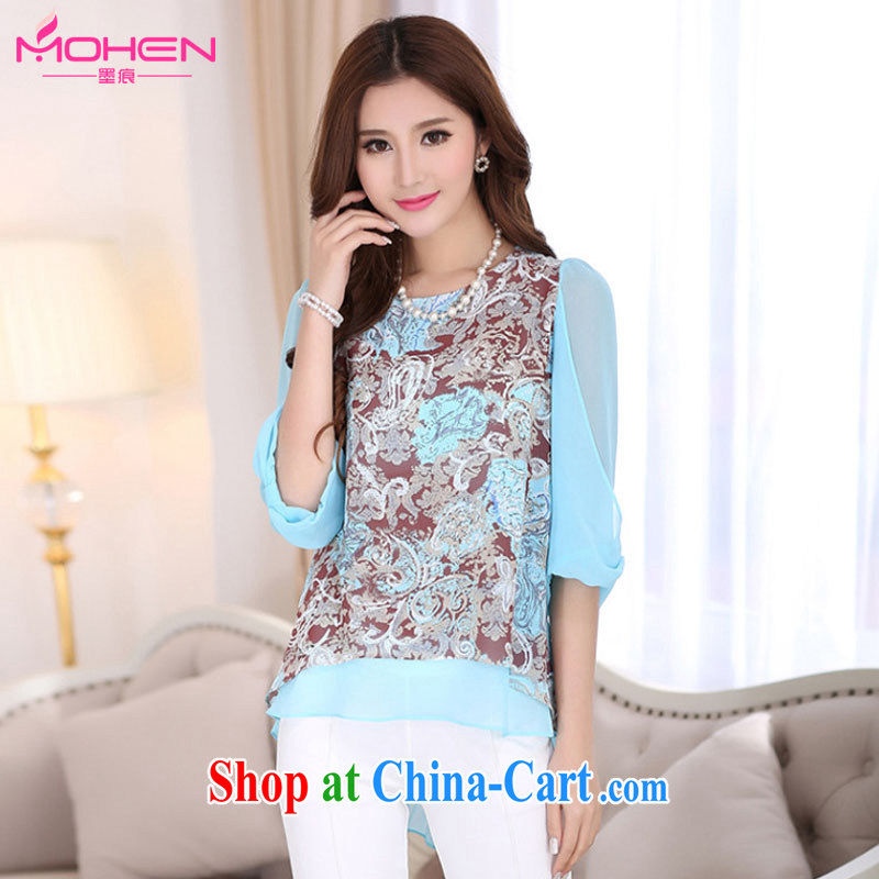The ink marks summer 2015 new Korean king, female round-collar loose video thin bowtie 7 cuff stamp snow woven shirts thick sister does not rule out the T-shirt blue 4 XL