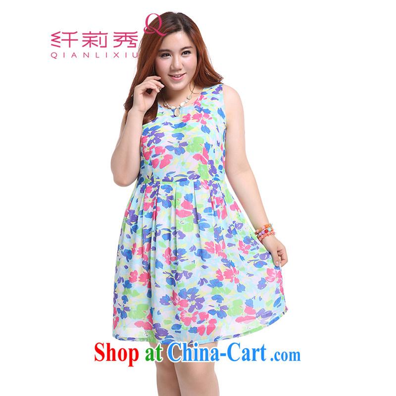 Slim Li-su summer 2014 new, larger female temperament idyllic beauty fresh flower stamp pattern 100 a sleeveless ice woven dresses Q 5050 blue XXXXL