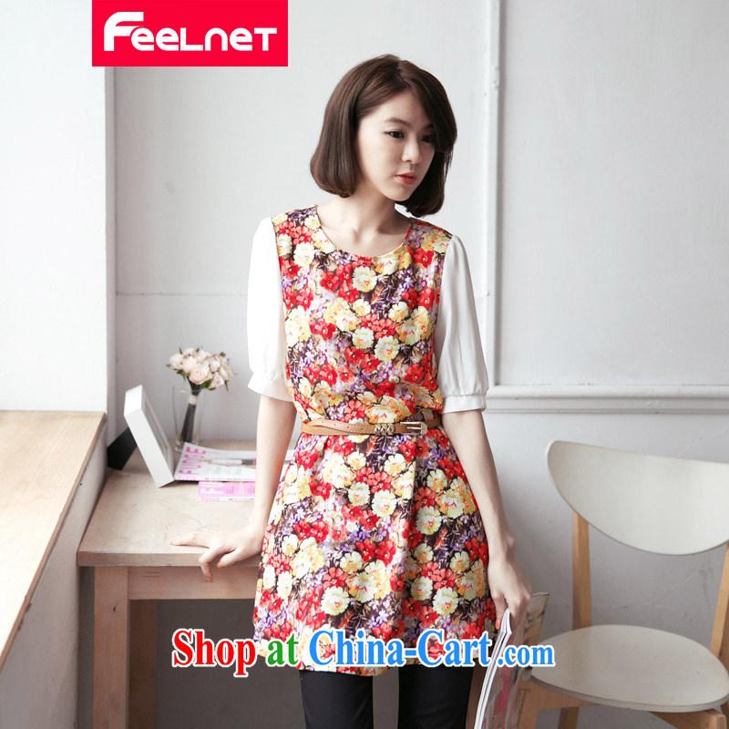 feelnet larger women mm thick loose Korean video thin skirt 2015 summer XL dress pattern 2106 big red code 5 XL