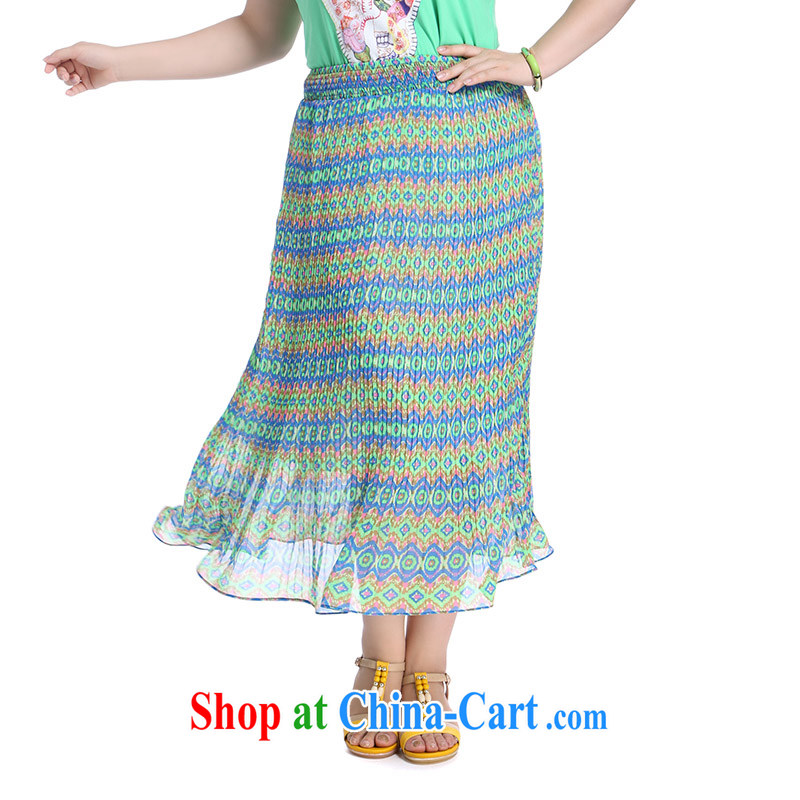 Slim Li-su summer 2014 new, larger female Stylish retro stamp Elasticated waist 100 snow ground woven waist skirt Q 3985 green XXXXL