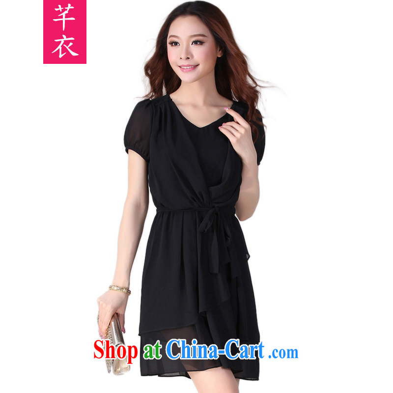 Constitution, thick mm XL dresses 2015 summer new Snow woven short-sleeved dresses thick sister the commuter OL lady short skirt the skirt is black 2 XL