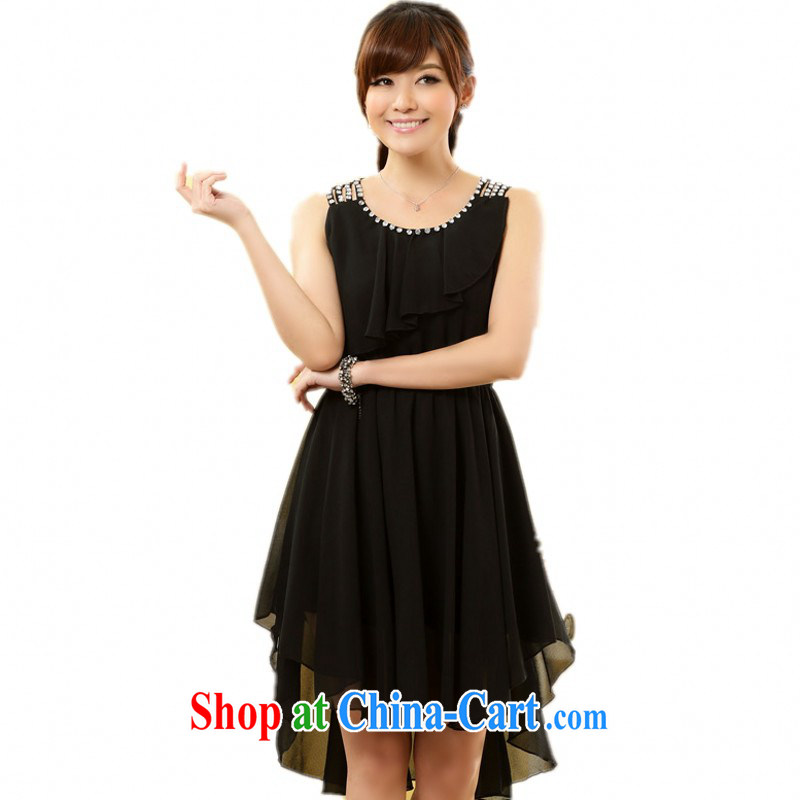 The delivery package as soon as possible the 2014 summer new sweet light drill vest dress the code snow woven skirt is not rules dovetail small dress mm thick solid color skirt black 3 XL 165 - 175 jack