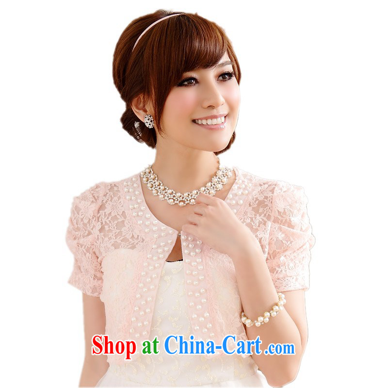 The delivery package as soon as possible the 2014 summer new fine lace nails Pearl small cardigan thick mm maximum code 100 to dress wedding jacket bridal shawl is indeed pink 3XL 145 - 165 jack