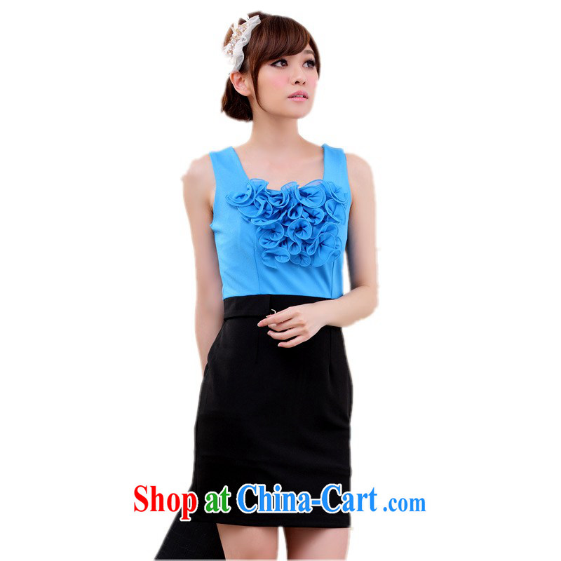 The delivery package as soon as possible the 2014 summer new upscale fungus lace vest package and dress the code graphics thin business dress and white collar work skirt m thick blue 3 XL