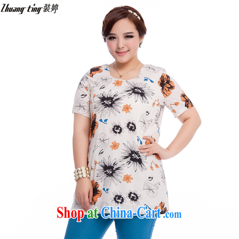 The Ting zhuangting fat people graphics thin 2015 summer new Korean version of the greater code female short-sleeved stamp snow T woven shirts T-shirt 1612 suit 4 XL