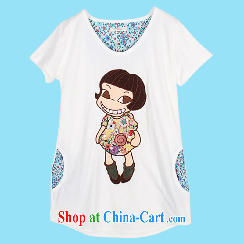The Superintendent 2015 summer new female large code loose cotton short-sleeve T-shirt embroidery Korean girls 3030 m White L