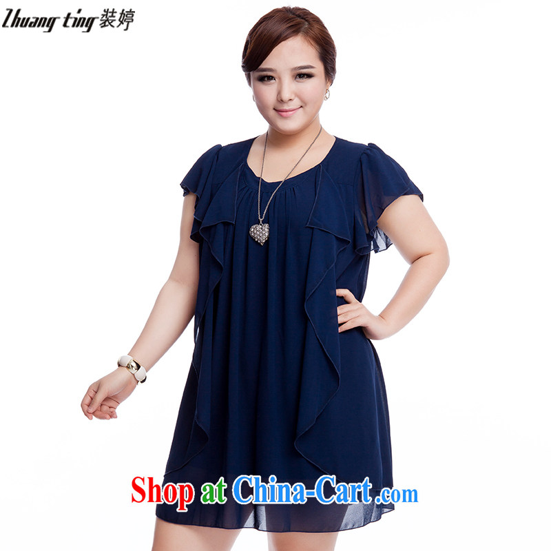 The Ting zhuangting fat people graphics thin 2015 summer new Korean version the Code women's clothing stylish 100 aura ground short-sleeved dress 925 blue 4 XL