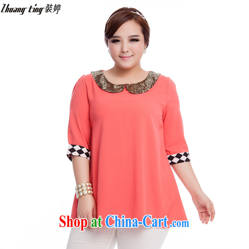 The Ting zhuangting fat people graphics thin 2015 spring and summer new Korean version the Code women cuff in stylish snow woven shirts T-shirt Q 3023 pink 4 XL