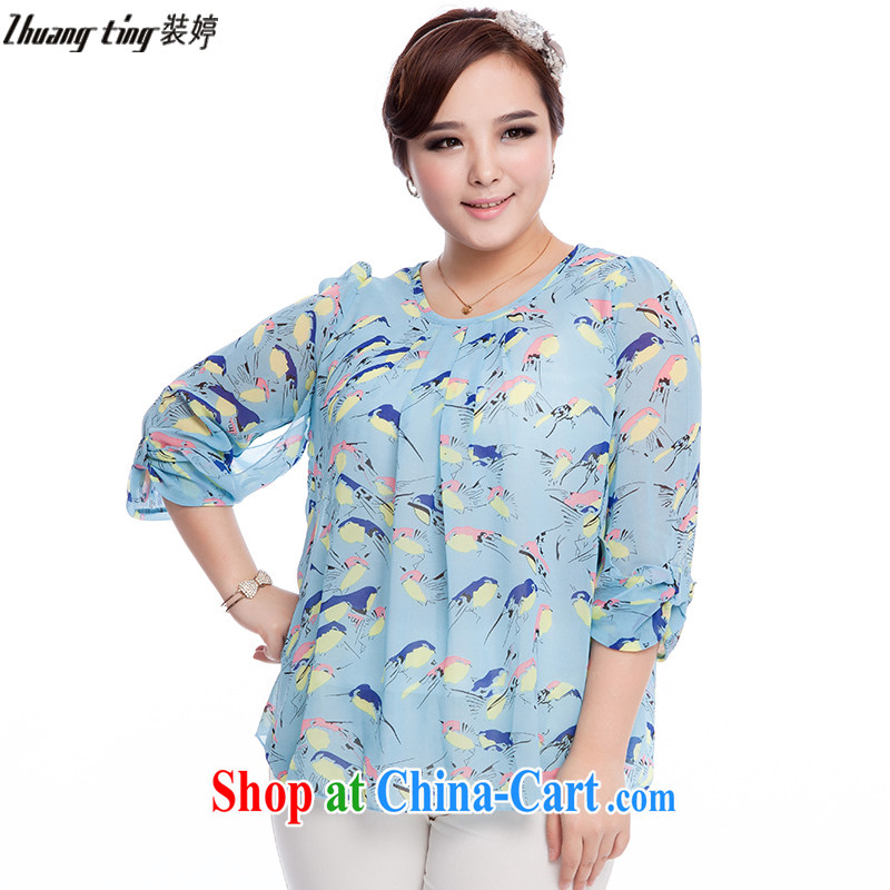 The Ting zhuangting fat people graphics thin 2015 spring and summer new Korean version of the greater code female birds element 7 snow cuff woven shirts 7012 photo color 4 XL