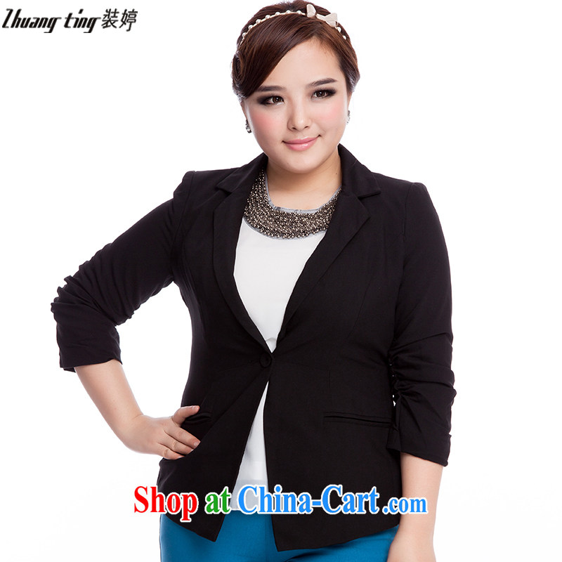 The Ting zhuangting fat people graphics thin 2015 spring new Korean version of the greater code female 7 cuff career small suit jacket 5005 black 2 XL