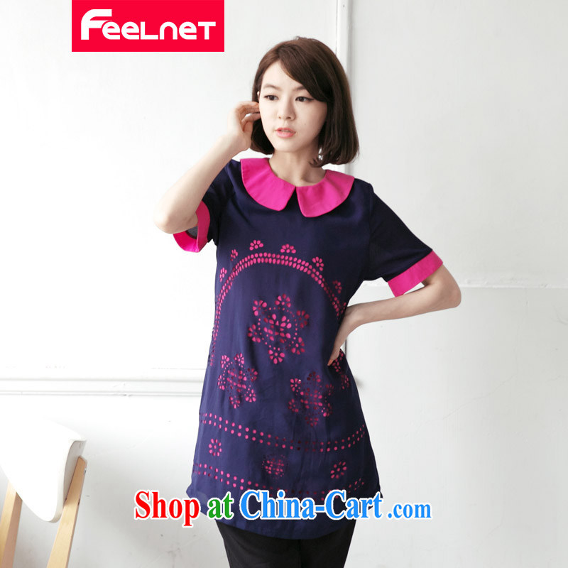 feelnet 2015 XL thick mm summer new, larger graphics thin biological empty short-sleeved large code dresses 2108 dark blue large code 3XL