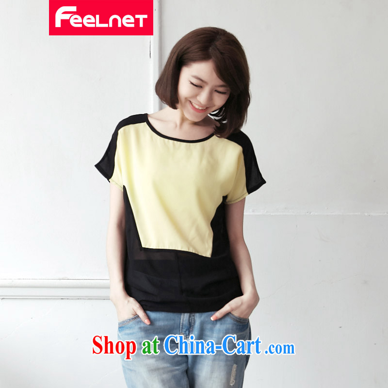 feelnet thick MM 2015 XL female summer new graphics thin large code t-shirt short-sleeved stitching large code snow woven shirts 2124 black spell Wong code 3XL