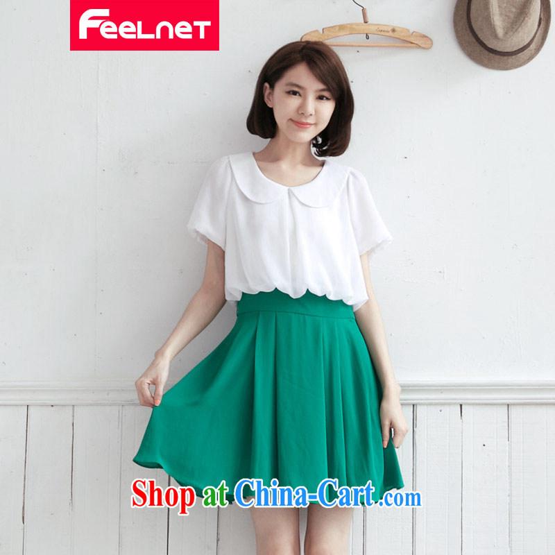 feelnet 2015 XL thick mm summer new, larger video tape stitching short-sleeve larger dresses 2126 large green code 5 XL