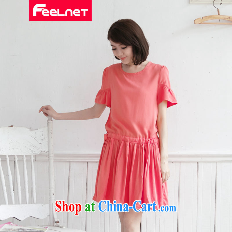 feelnet 2015 XL girls with thick mm summer new, larger graphics thin strap stitching short-sleeve XL dresses 2128 big red code 5 XL