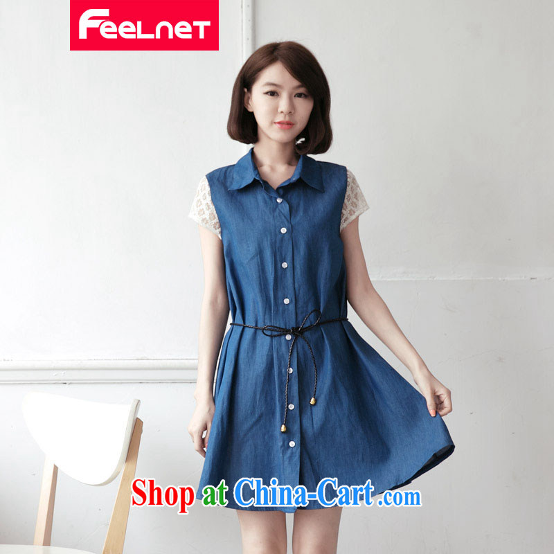 feelnet mm thick 2015 XL summer new, larger female lace stitching denim dress code the dress 2131 large blue code 3XL