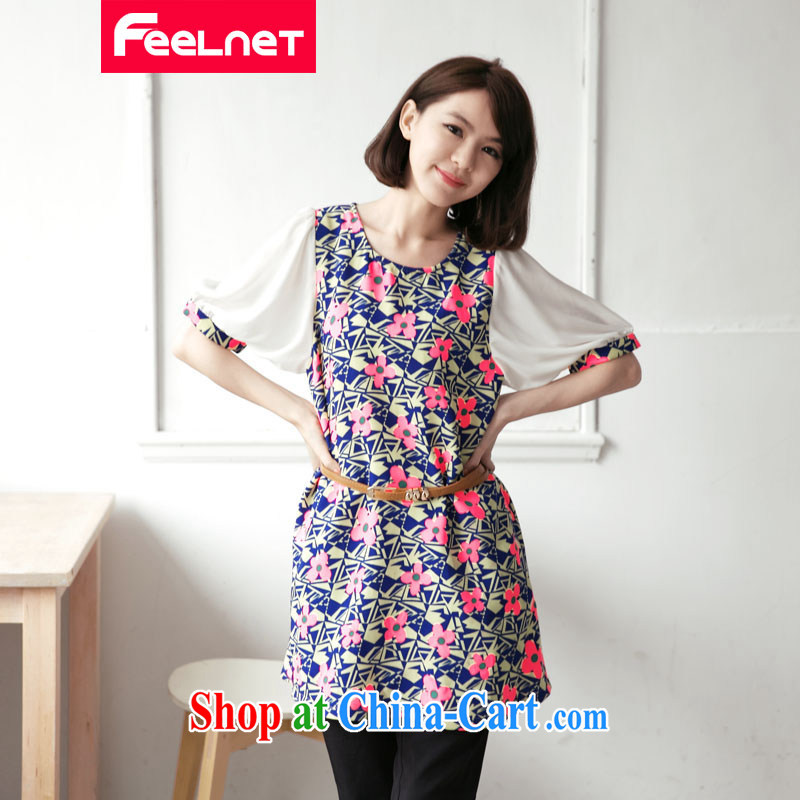 feelnet mm thick 2015 XL ladies summer wear new, larger graphics thin floral round-collar short-sleeve large code dress suit 2132 the code 3 XL