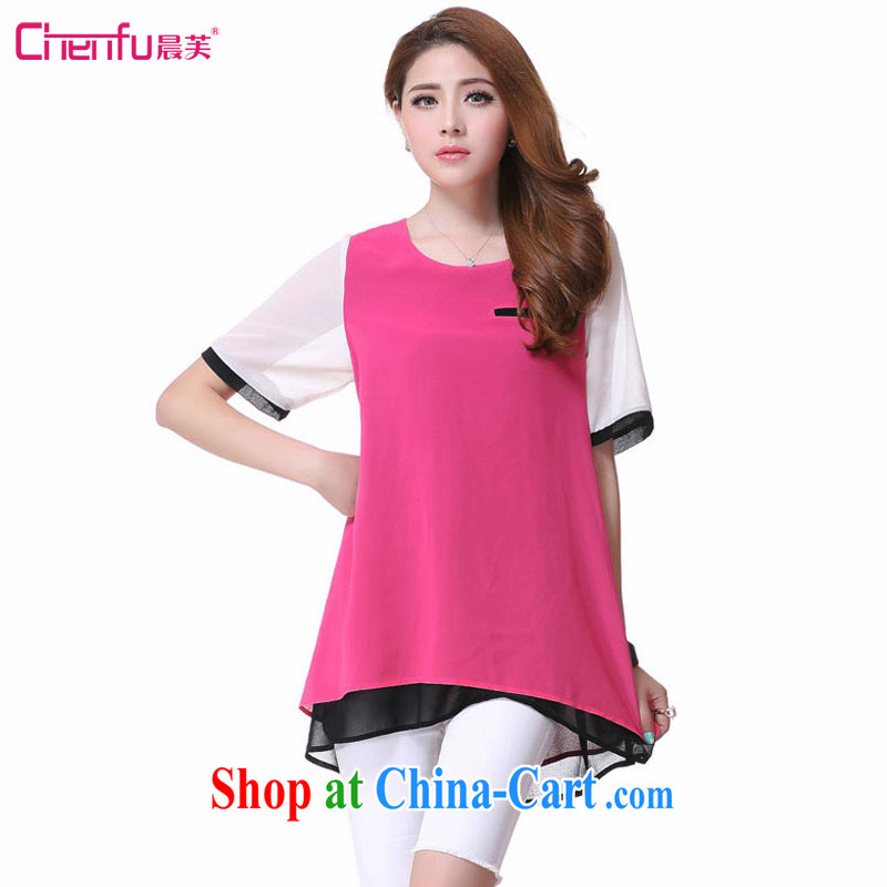 Morning would be 2015 summer New, and indeed increase, female fat mm video thin round-collar simple stitching knocked color short-sleeved sweet elegant snow T woven shirts girls of red 5 XL