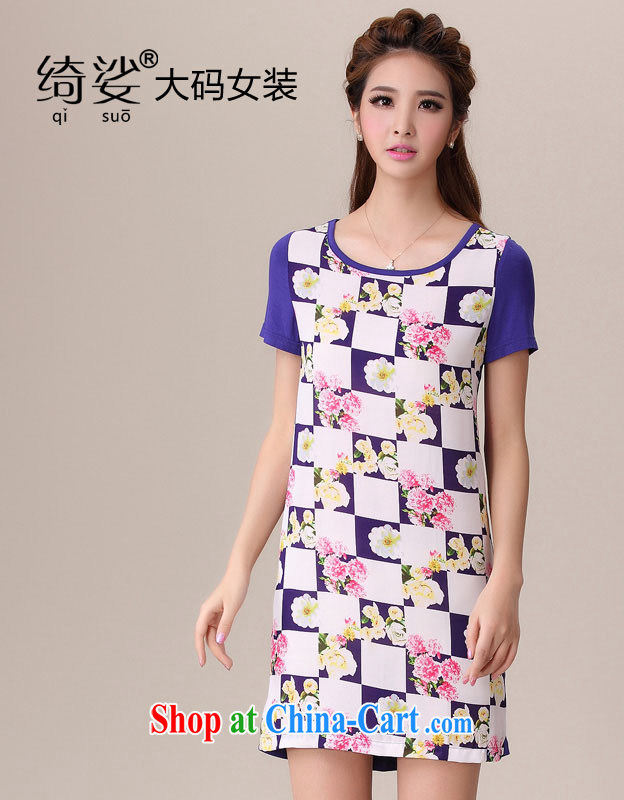 cheer for 2014 XL girls with thick MM summer New floral patterned thick sister-in-law Video thin large short-sleeved dresses Item No. 2060 purple 5 XL