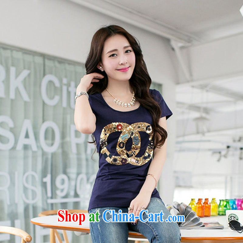 Simply stamped 2015 summer load new Korean Beauty girls cotton T-shirts girls T-shirt with short sleeves larger female 8910 BMW blue XXXL