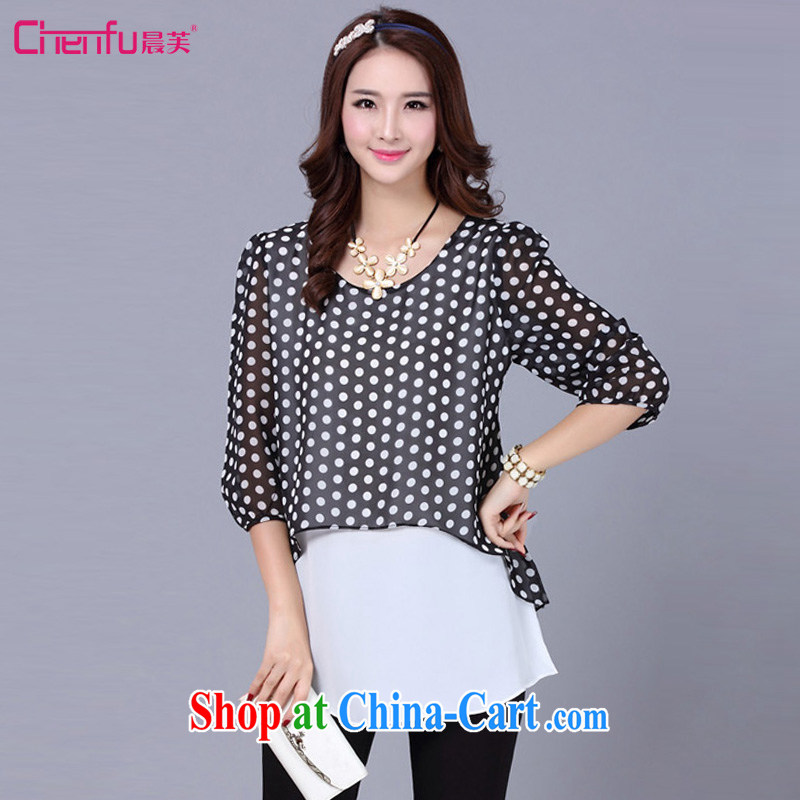 Morning would be 2015 summer mm thick new Korean snow woven shirts and indeed increase, female fashion the collision point color graphics thin 100 ground dot snow woven shirts female black point code 5 XL