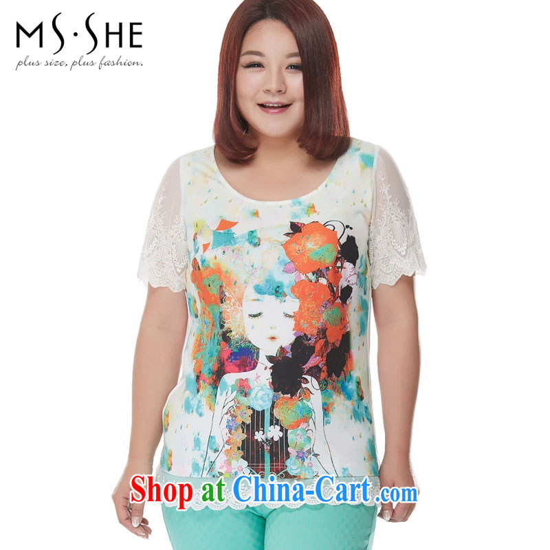 MsShe XL female snow woven shirts 2015 new thick mm round-collar stamp Openwork snow woven lace stitching T-shirt 7101 white 3XL