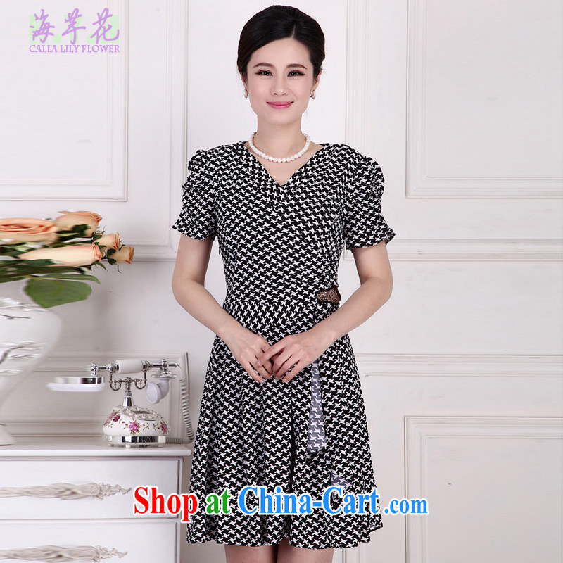 The line between a new 1000 birds, cultivating graphics thin large code dresses Korean version the Code women summer dresses 4151 - 4 black 1000 birds, 5 XL