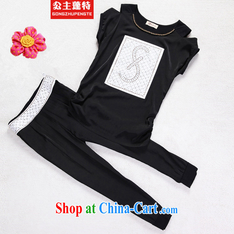 Princess Puntland Korean version of the greater code Leisure package summer uniforms trend short-sleeve Sport Kits black XXXL