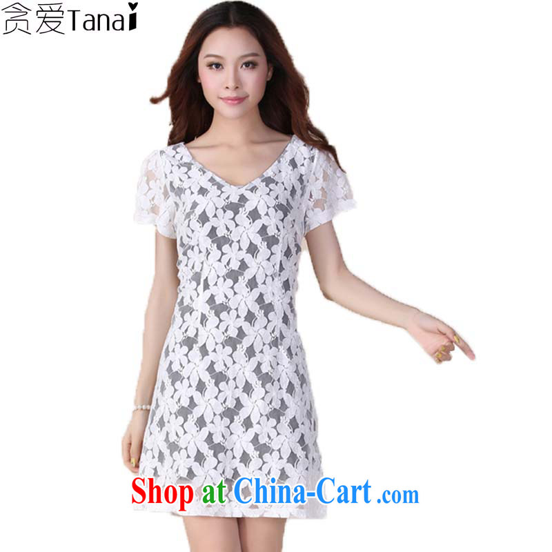 Loved summer new Korean short-sleeved video thin and thick XL women mm thick lace dresses 4113 white XL